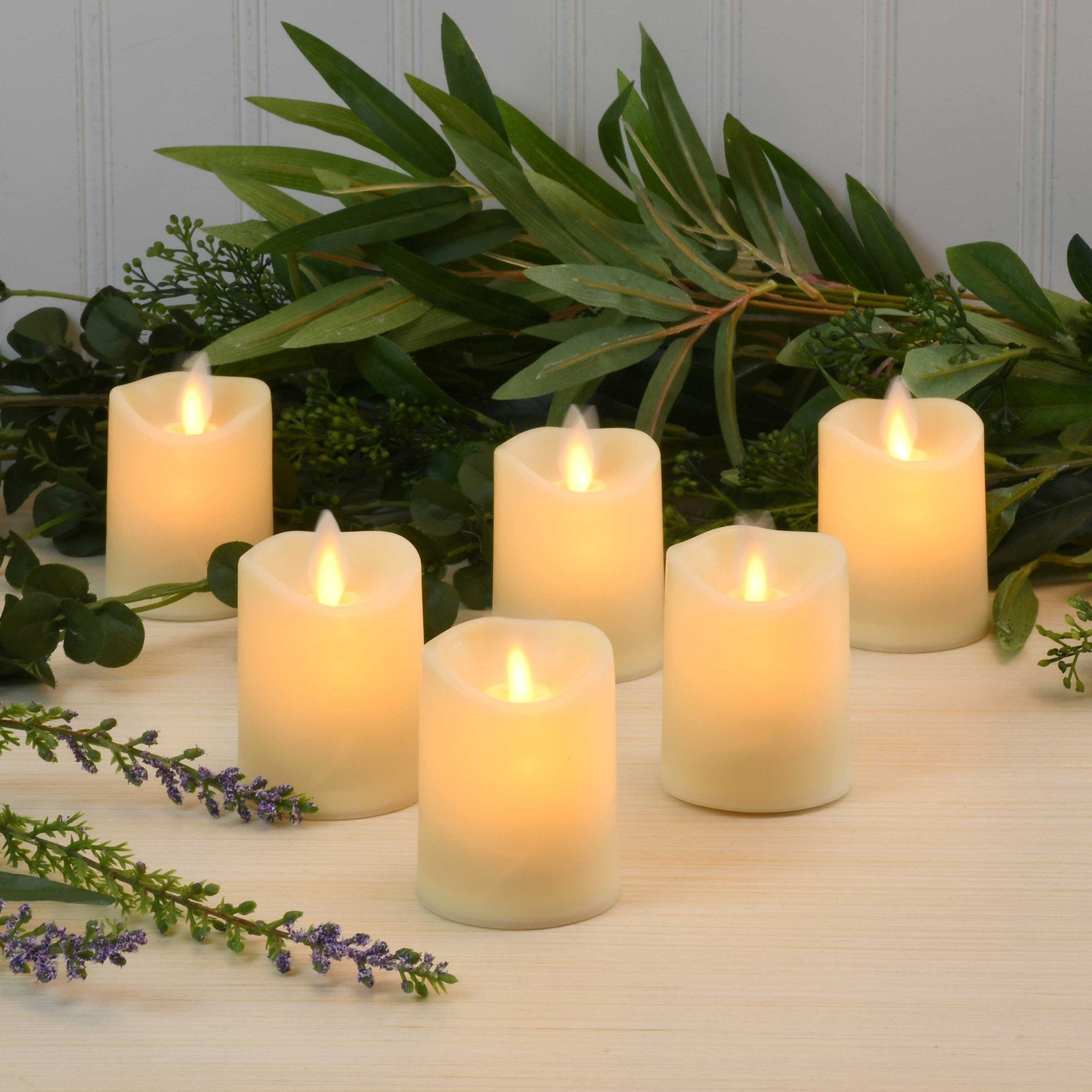 JH Specialties Inc. Moving Flame Battery Operated LED Votives in Cream