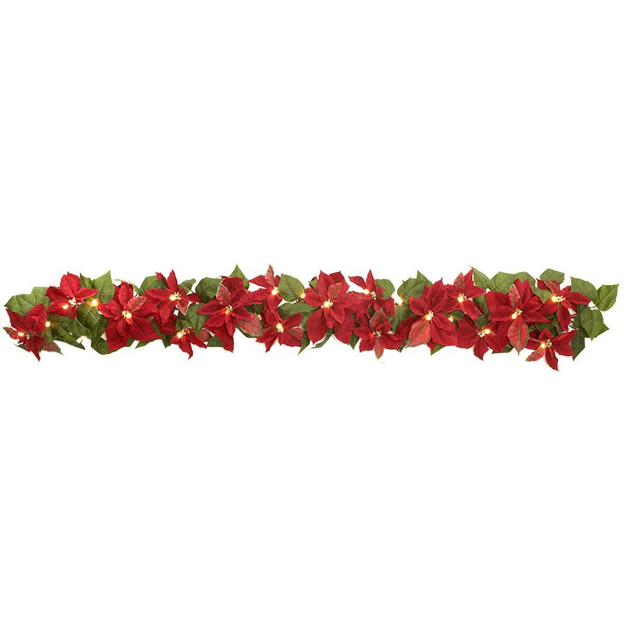 Brookstone Cordless Pre-Lit LED Poinsettia Garland in Green