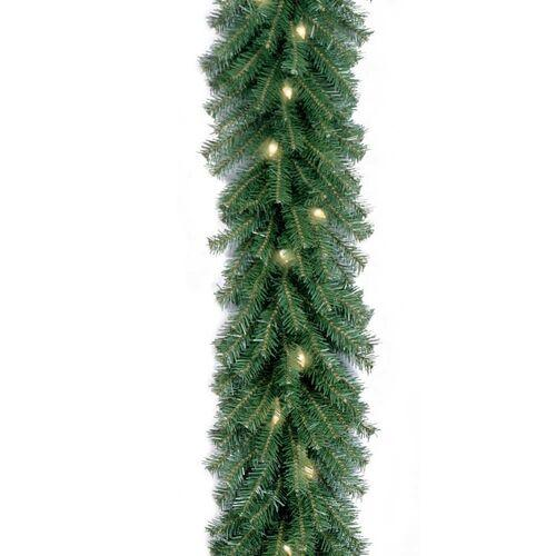 Brookstone Open Box: Pre-lit Outdoor Christmas Decorations-Norwood Fir Garland in Green