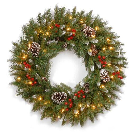 Brookstone Open Box: Pre-Lit Frosted Berry Christmas Wreath in Green
