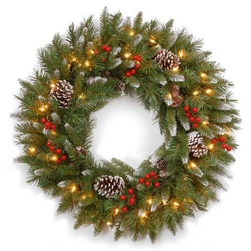 """Brookstone Open Box: 30"""" Frosted Berry Wreath w/ Lights in Green"""