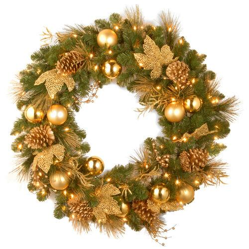 """Brookstone Open Box: Decorative Collection 24"""" Elegance Wreath w/ Battery Operated Lights in Green"""