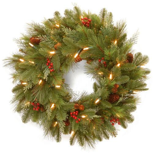 """Brookstone Open Box: 24"""" Noelle Wreath w/ Battery Operated LED Lights in Green"""