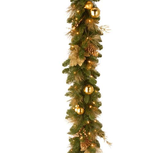 Brookstone Open Box: 6 1/2' Elegance Garland w/ Battery Operated LED Lights & Timer in Green