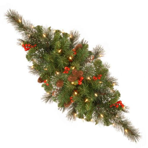 """Brookstone Open Box: Crestwood Spruce 30"""" Centerpiece w/ Battery Operated LED Lights in Green"""