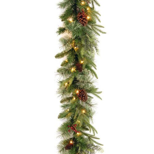Brookstone Open Box: Feel-Real 9' Colonial Garland w/ Lights in Green