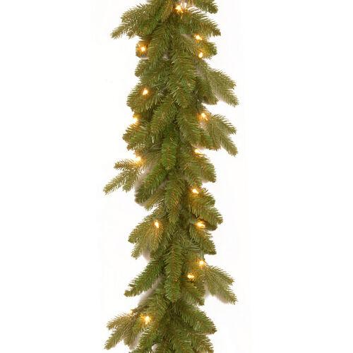 Brookstone Open Box: Feel Real 9' Avalon Spruce Garland w/ Lights in Green