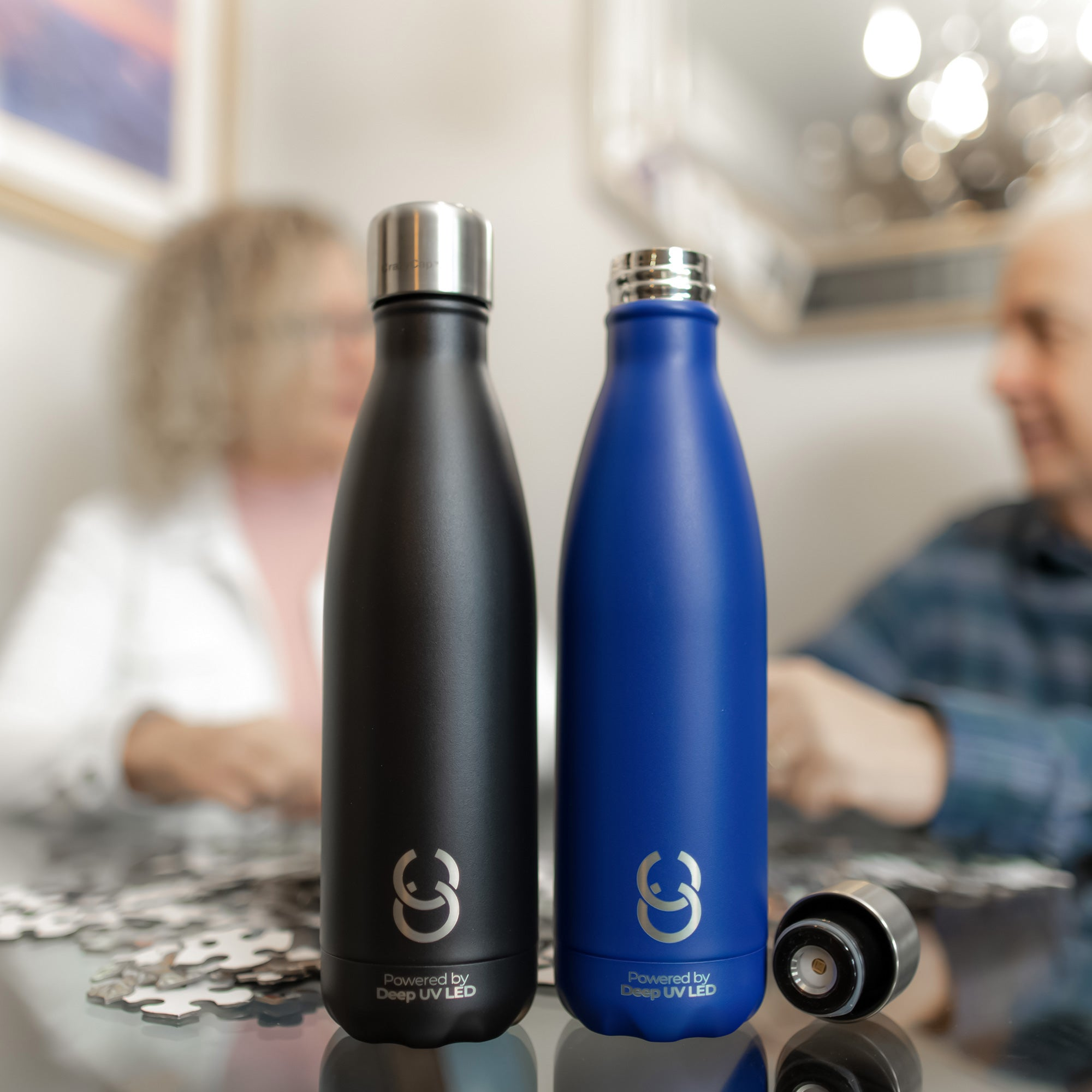 Crazy Cap CrazyCap® Self-Cleaning Bottle Twin Pack w/ UV-C Water Purifier (17oz) in Onyx/sapphire, Size 17 oz