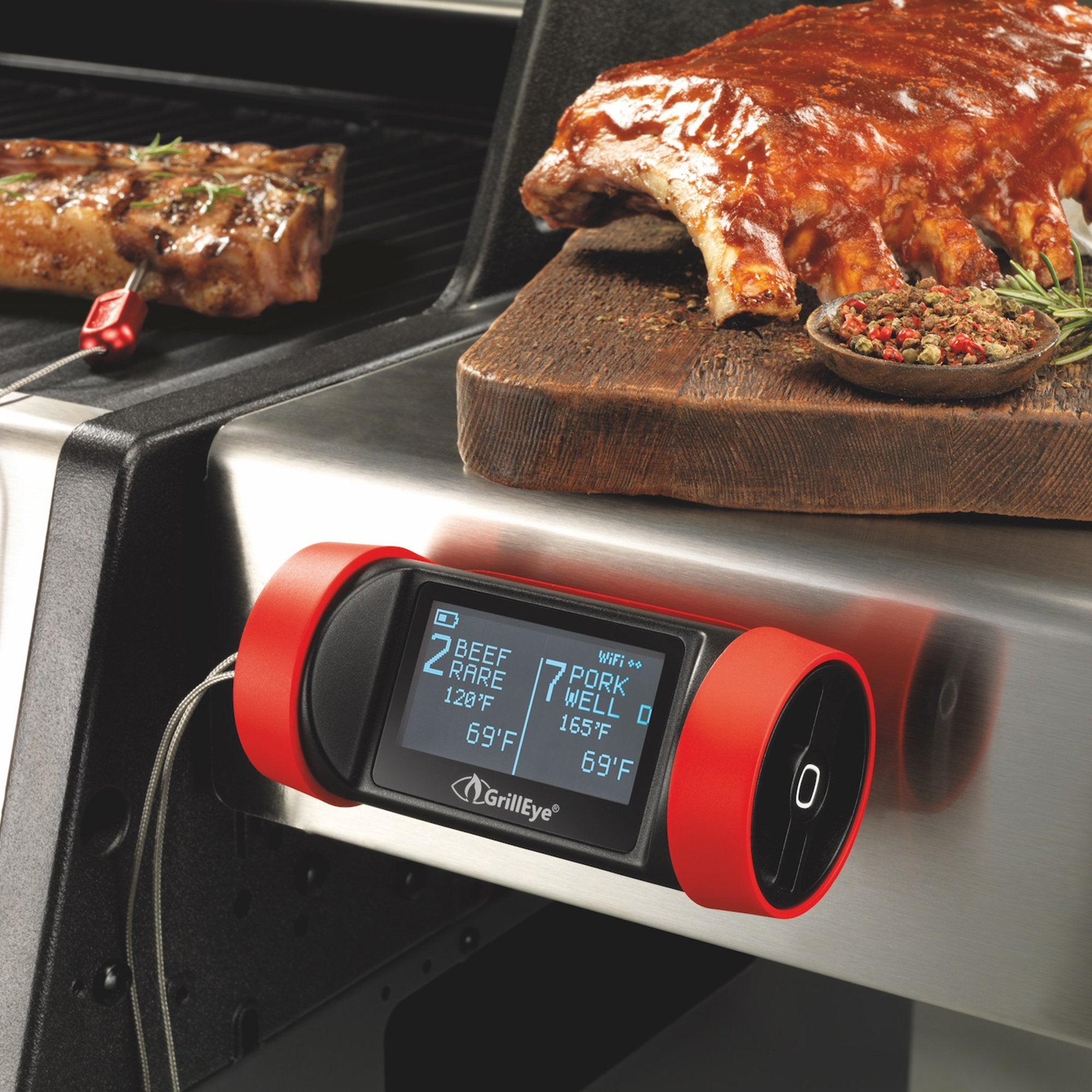 Bluemar Promotions GrillEye Professional Grilling & Smoking Thermometer w/ Hybrid-Wireless & A.D.S. Technology in Black/red