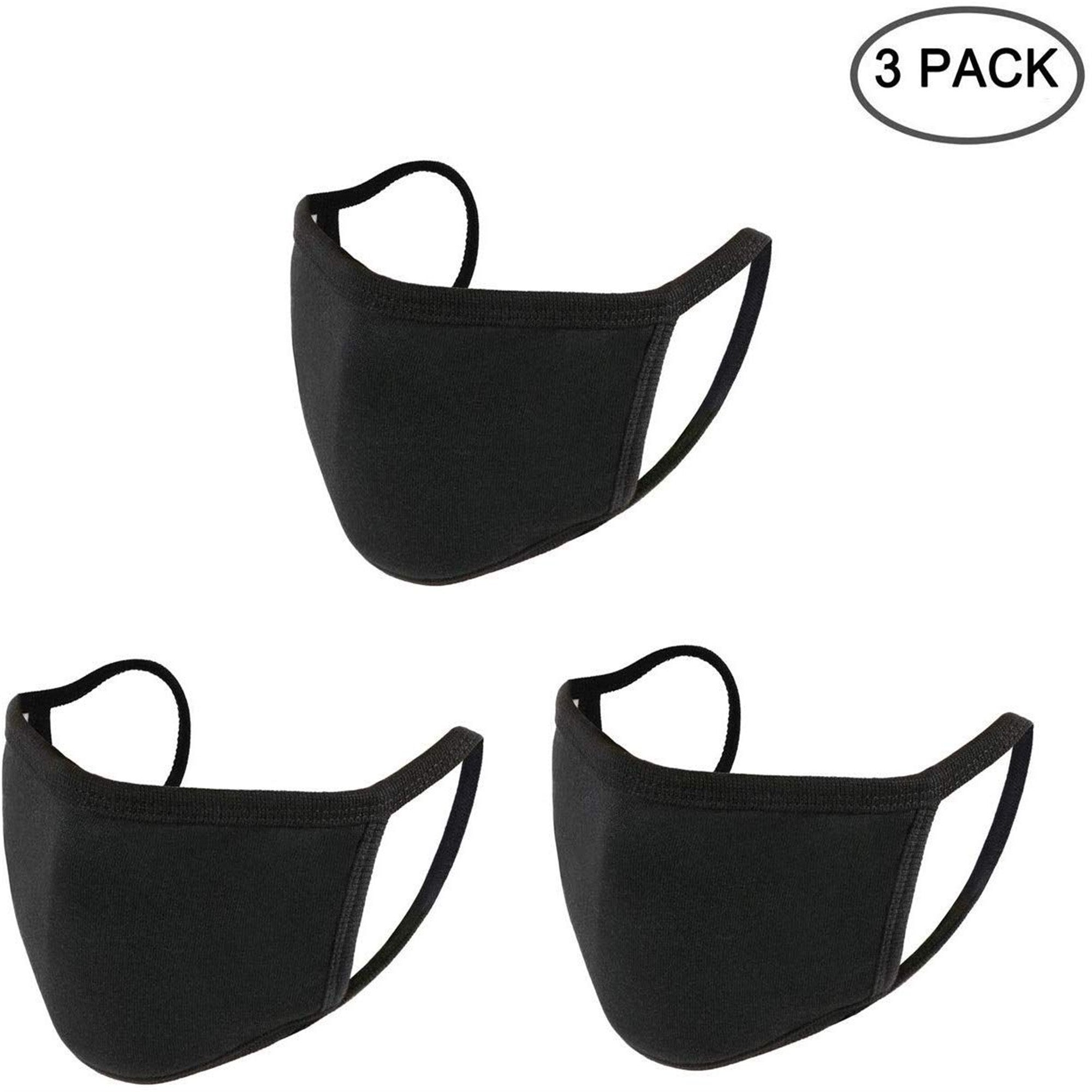 YAD International 3-Pack Reusable Face Masks - Made In USA in Black