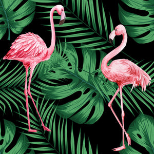 Flamingo & Leaves Black