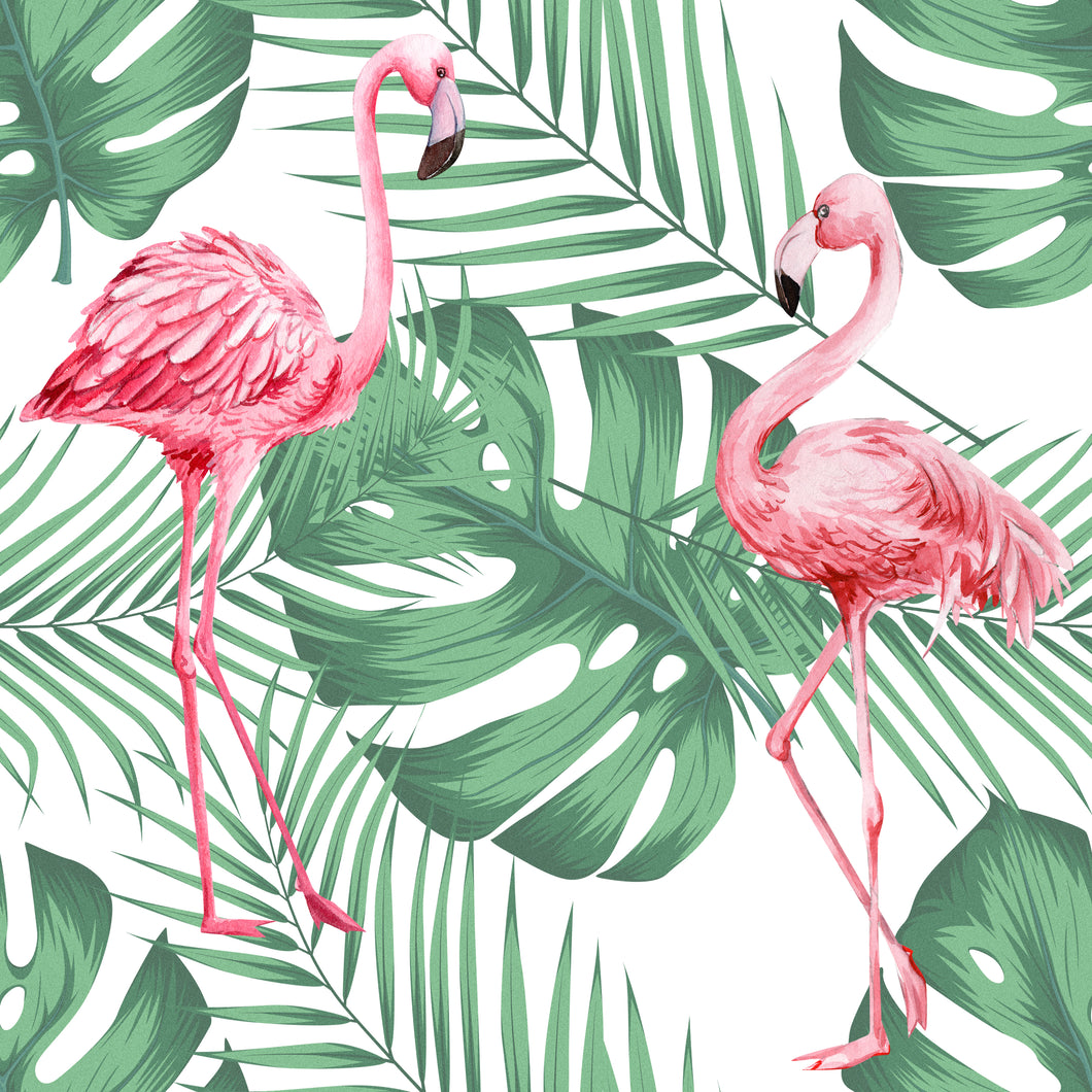 Flamingo & Leaves White