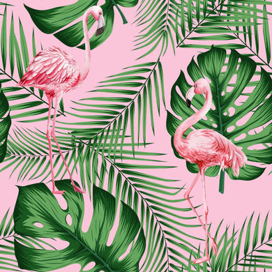 Flamingo & Leaves Green & Pink