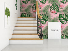 Load image into Gallery viewer, Flamingo & Leaves Green & Pink - Floor & Wall