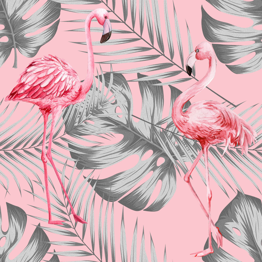 Flamingo & Leaves Grey