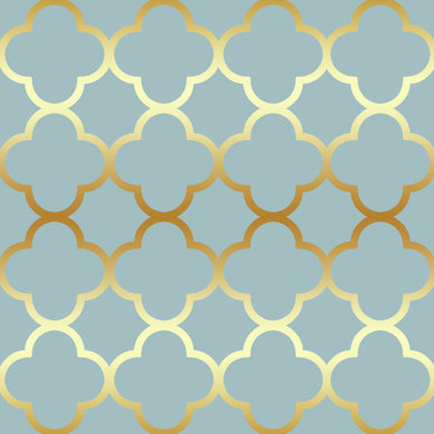 Quatrefoil Gold & Blue