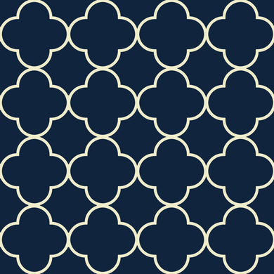 Quatrefoil Cream & Blue