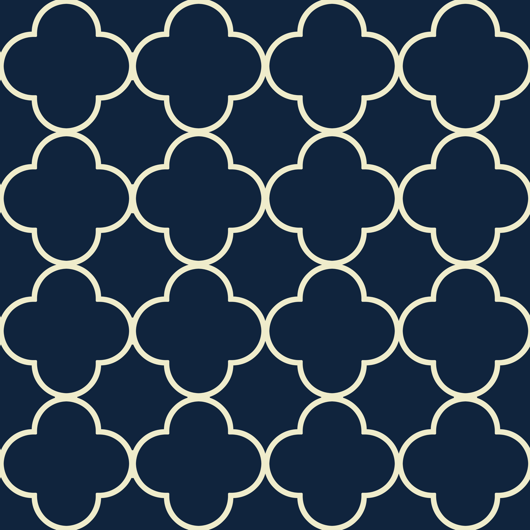 Quatrefoil Cream & Blue - Floor & Wall