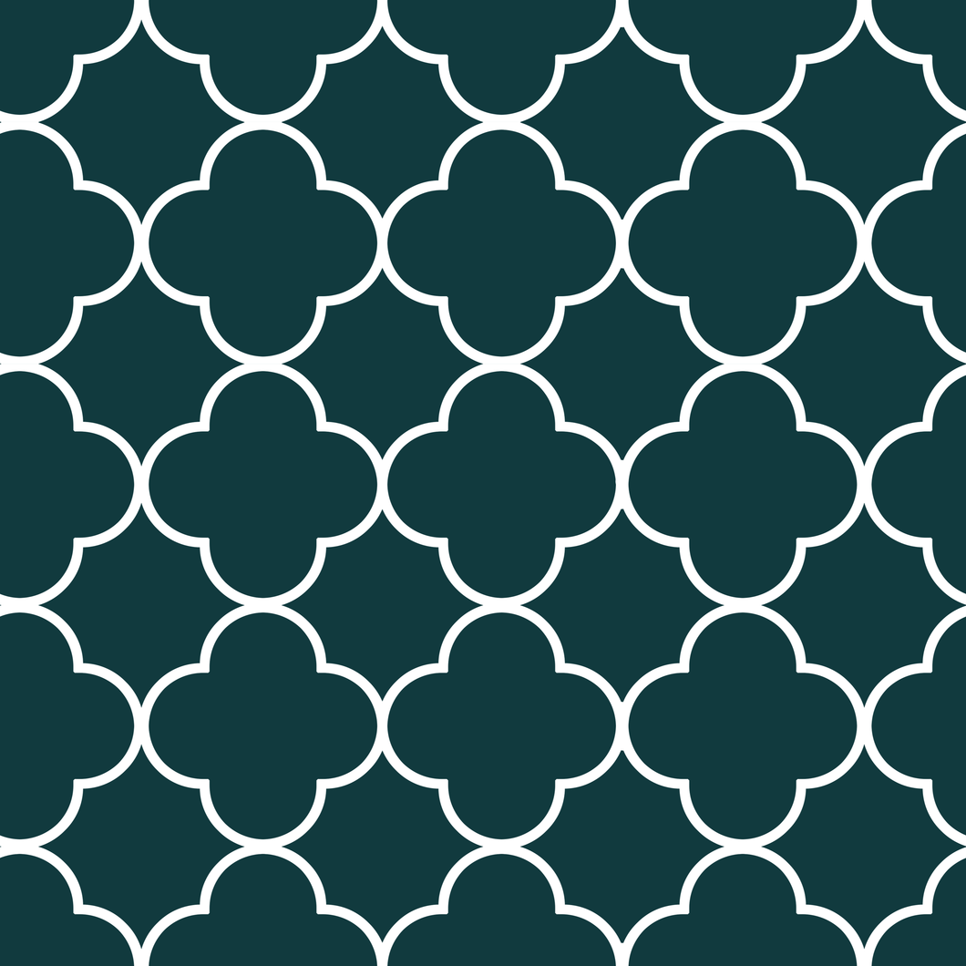 Quatrefoil Green & White