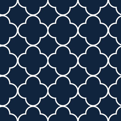 Quatrefoil White & Blue