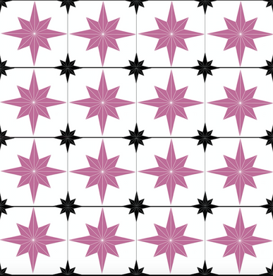 Astral Star Tiles Black & Pink