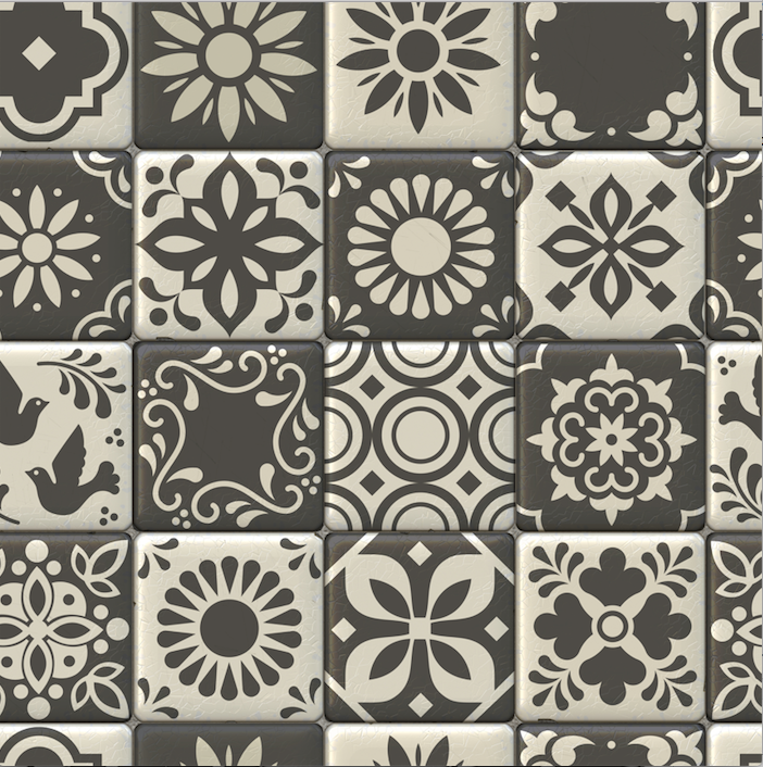 Moroccan Tiles Grey - Floor & Wall