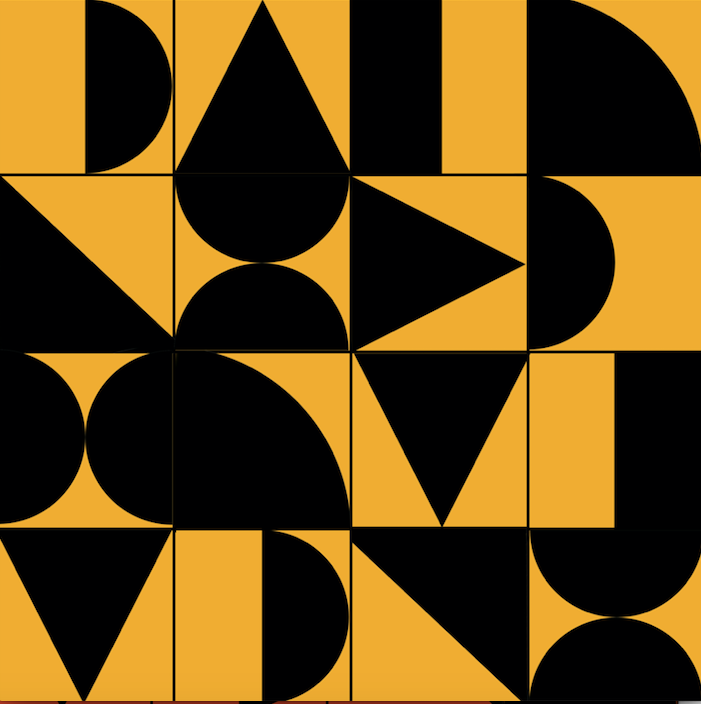 Abstract Geometric Black & Yellow - Floor & Wall