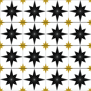Astral Star Tiles Black & Gold