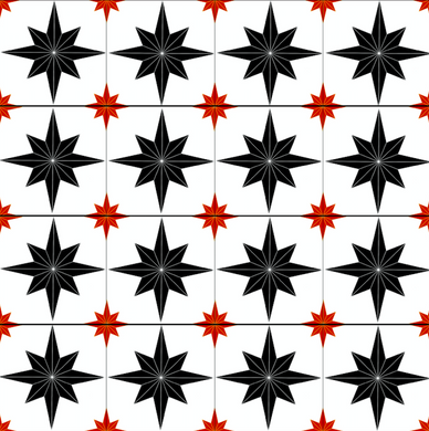 Astral Star Tiles Black & Red