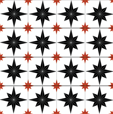 Astral Star Tiles Black & Red - Floor & Wall