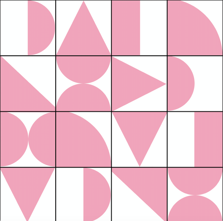 Abstract Geometric Pink & White - Floor & Wall