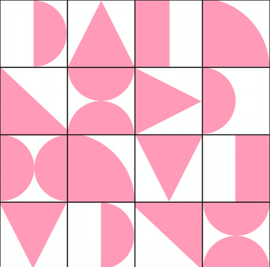 Abstract Geometric Pink & White