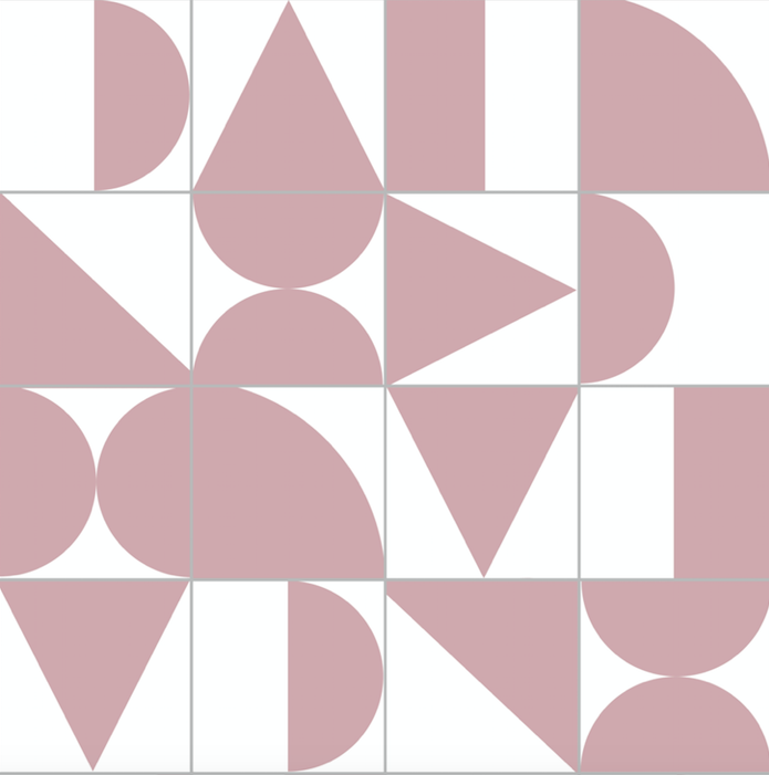 Abstract Geometric Pink & Grey - Floor & Wall