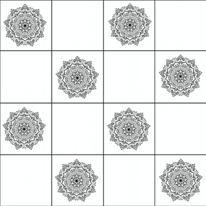Mandala Black & White Tiles