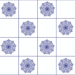 Mandala Blue & White Tiles