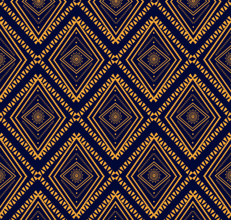 Tribal Blue & Gold - Floor & Wall