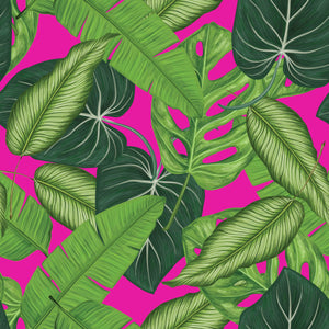 Botanical Leaves & Pink - Floor & Wall