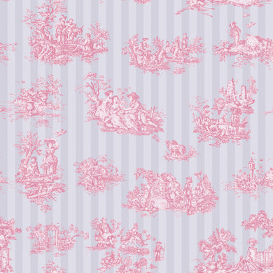 Toile De Jouy Pink & Stripe - Floor & Wall