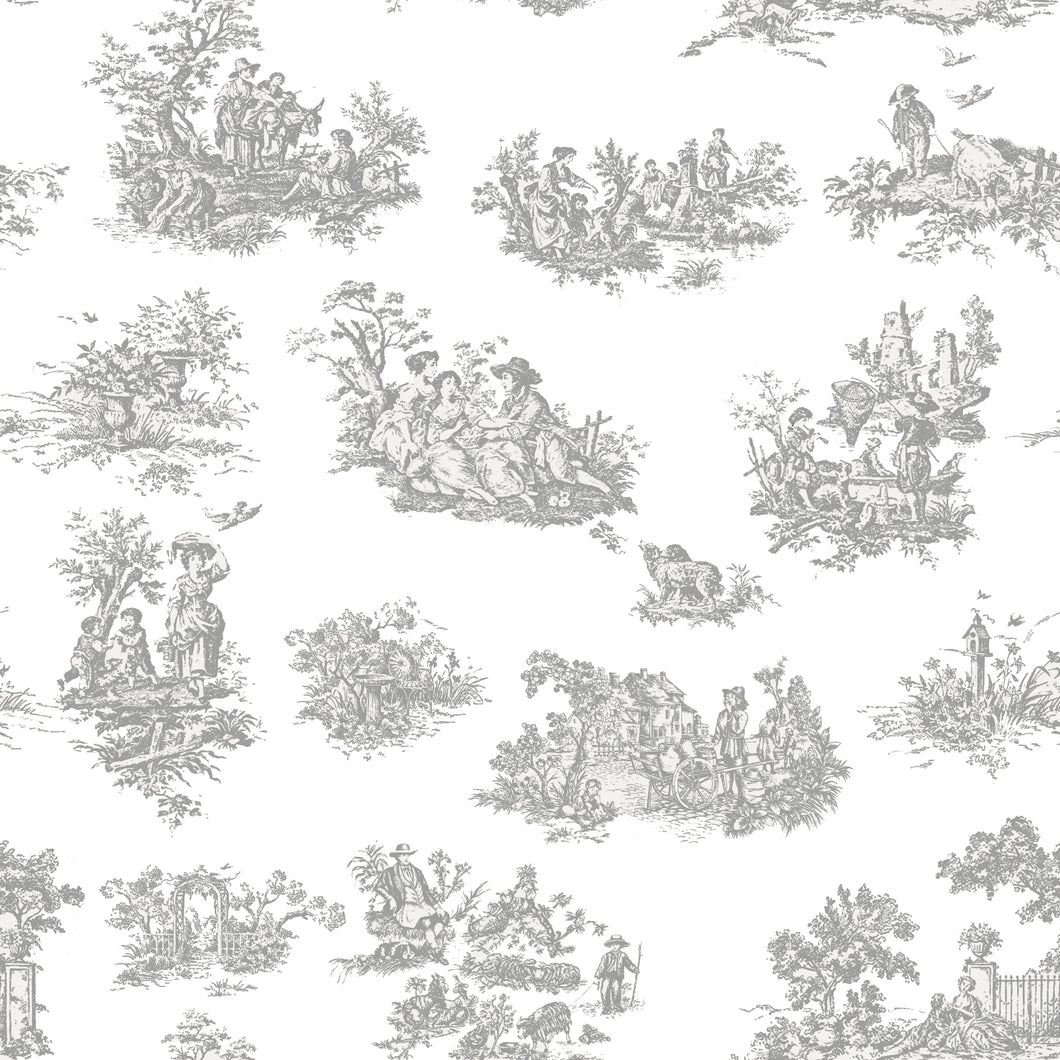 Toile De Jouy Grey - Floor & Wall