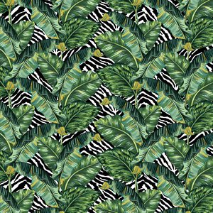 Banana Leaf & Zebra - Floor & Wall
