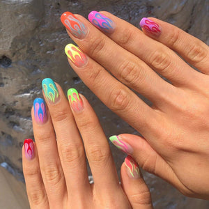 Rainbow Flames Press On Nails Set
