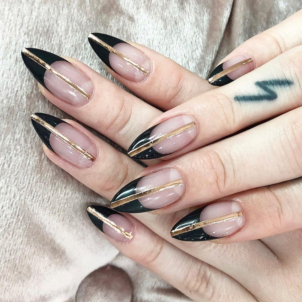 Onyx & Gold Press On Nail Set