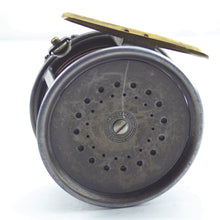 "Load image into Gallery viewer, Antique 1912 Hardy 4.1/4"" Perfect Wide Drum Salmon Alloy Fly Reel, Engraved 'R.L.S.'"
