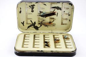 Large Malloch's Black Japanned Salmon Fly Box (1910-1920's)