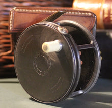 "Load image into Gallery viewer, Vintage 3.1/4"" 1921 Wide Drum Hardy Perfect Reel, with Hardy Leather Case"