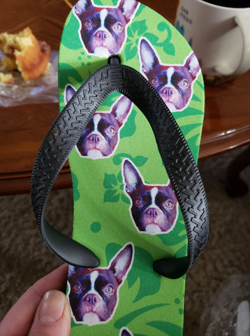 Custom tropical flower dog face flip flops with Beanie's face on them
