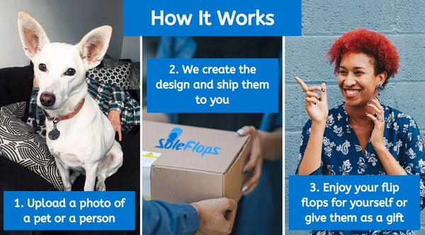 How it works: 1. Upload a photo of a pet or a person. 2. We create the design and ship them to you. 3. Enjoy your flip flops for yourself or give them as a gift.