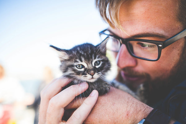 man holding his kitten
