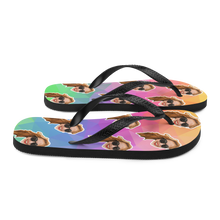 Load image into Gallery viewer, Custom Rainbow Polygon Face Flip Flops