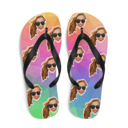 Custom Rainbow Polygon Face Flip Flops